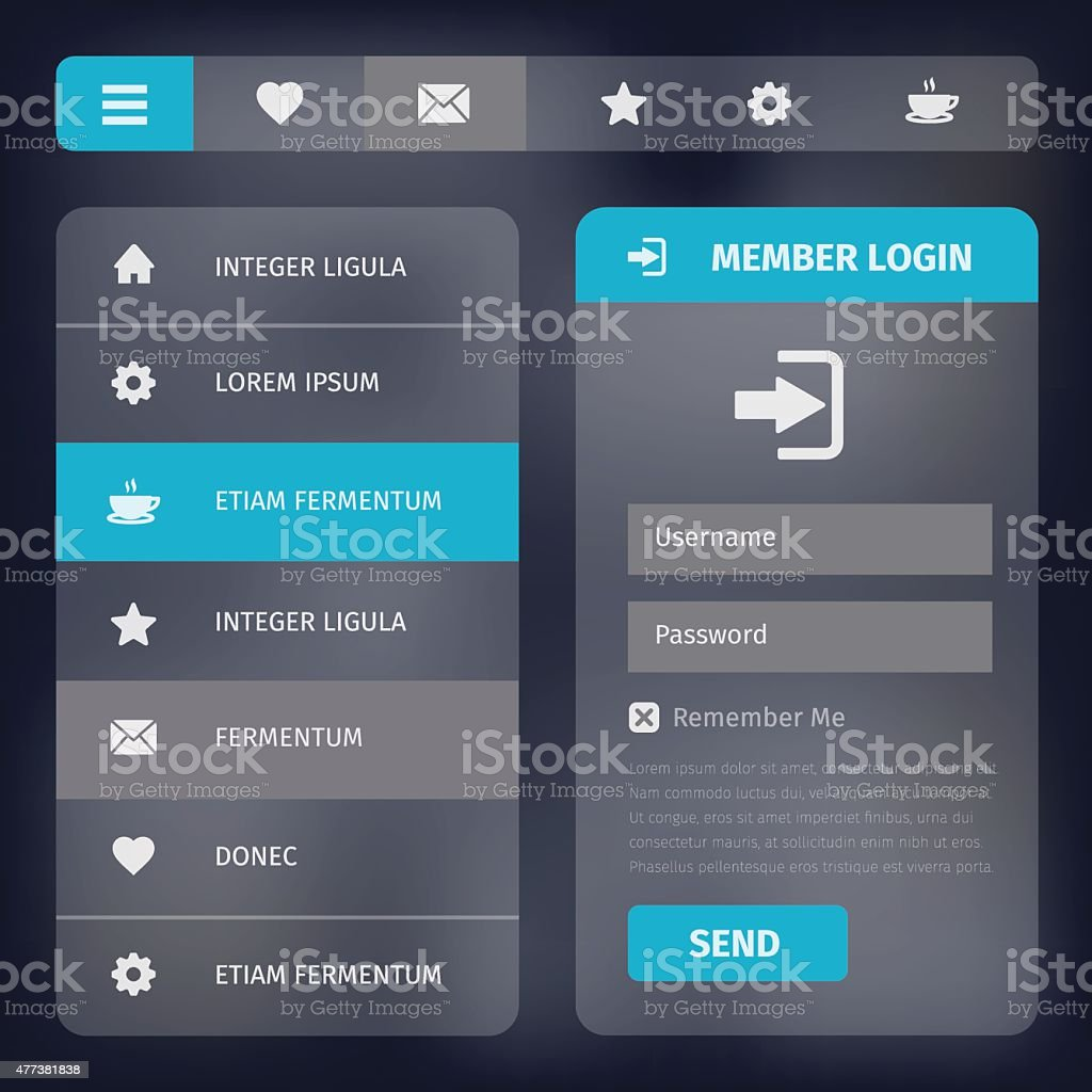 user interface with menu and icons vector art illustration