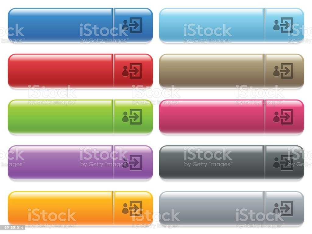 User login icons on color glossy, rectangular menu button vector art illustration