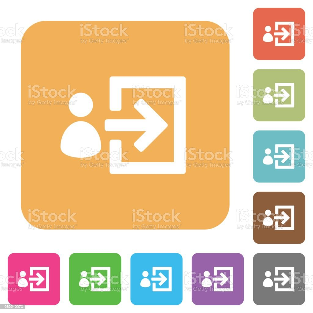 User login rounded square flat icons vector art illustration