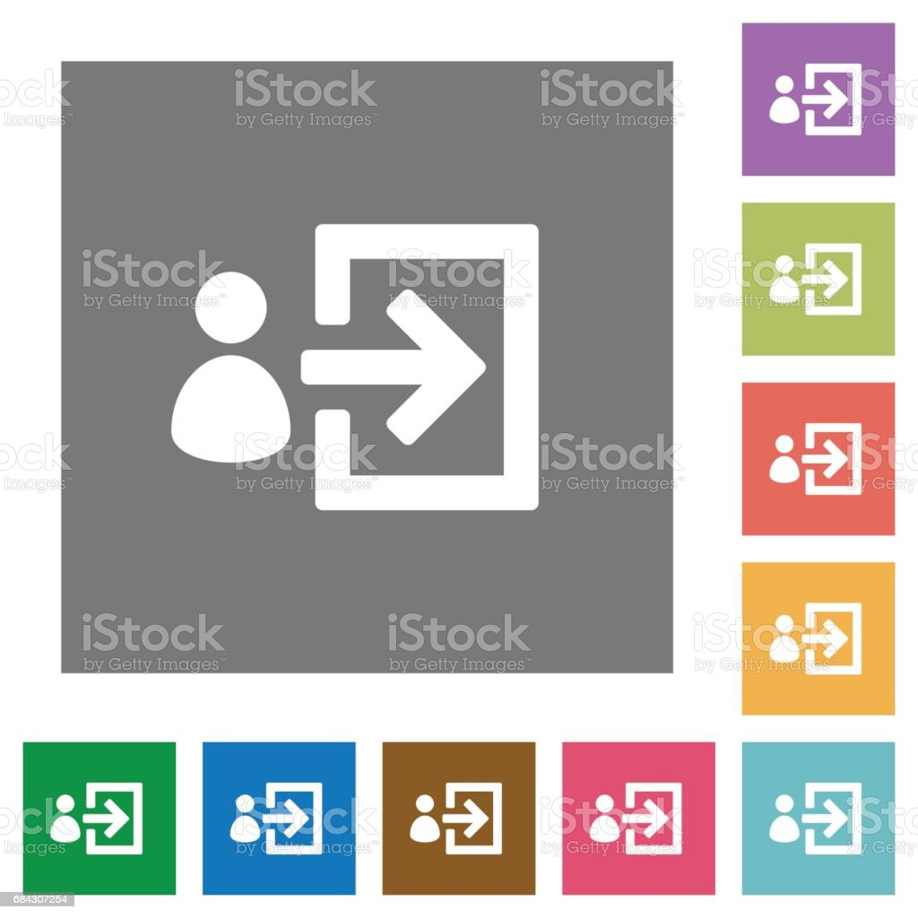 User login square flat icons vector art illustration