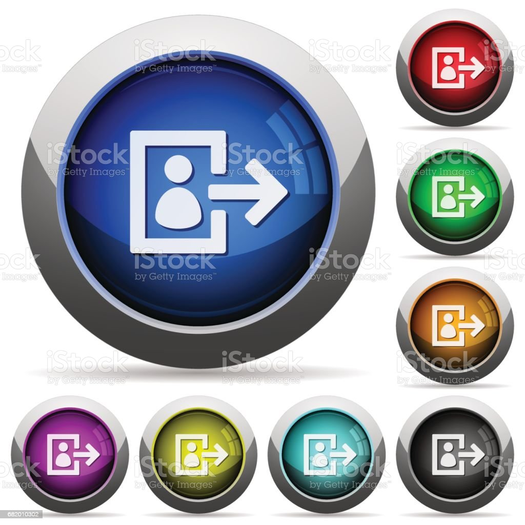 User logout glossy buttons vector art illustration