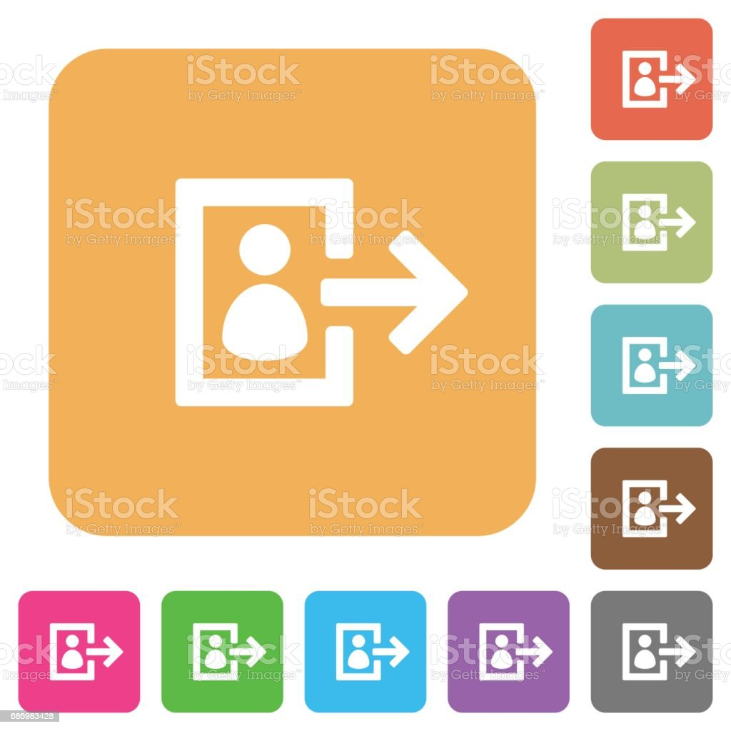 User logout rounded square flat icons vector art illustration
