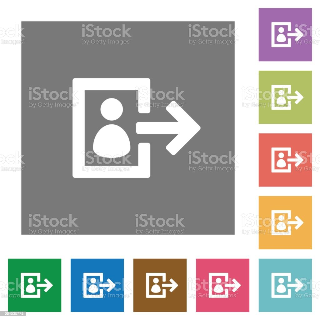 User logout square flat icons vector art illustration