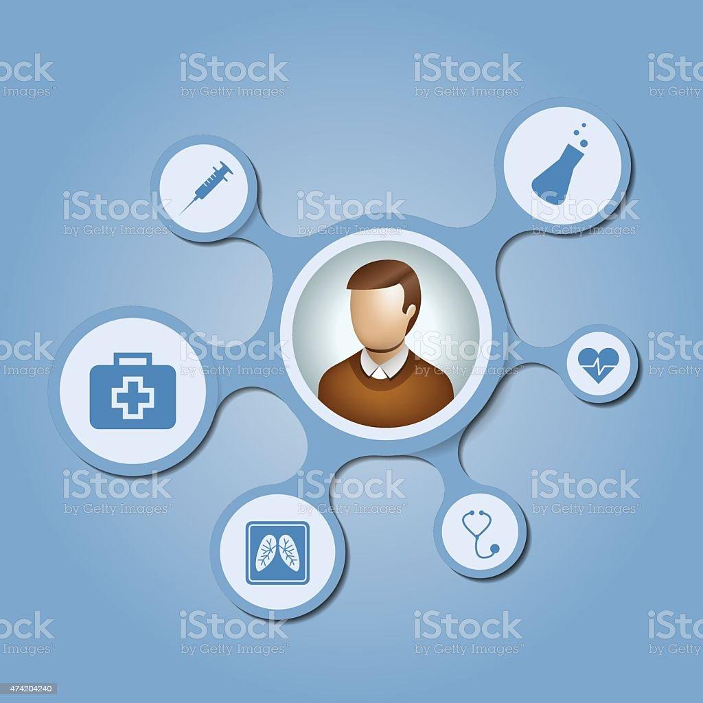 User network with blue medical metaballs on blue background vector art illustration