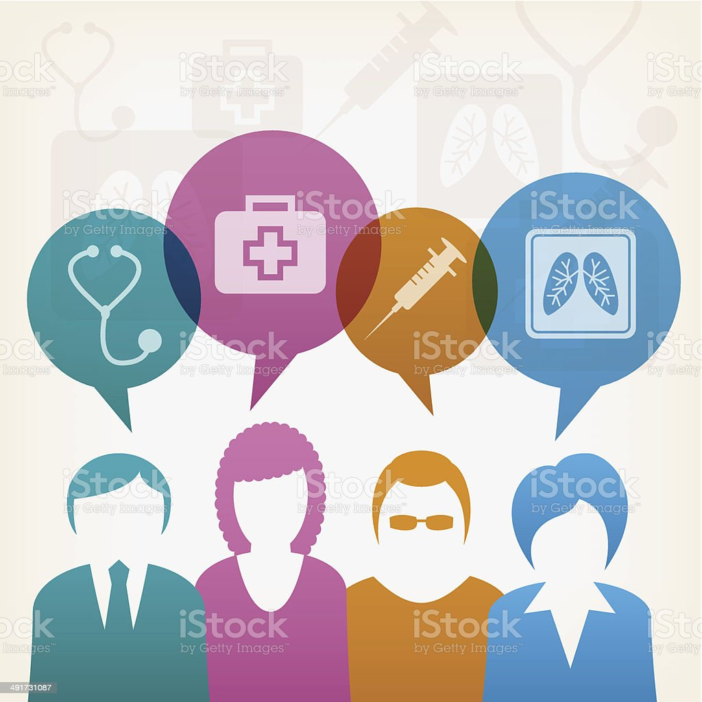 Users with medical bubbles talking vector art illustration