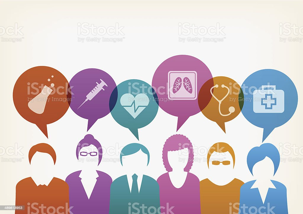 Users with medical bubbles vector art illustration