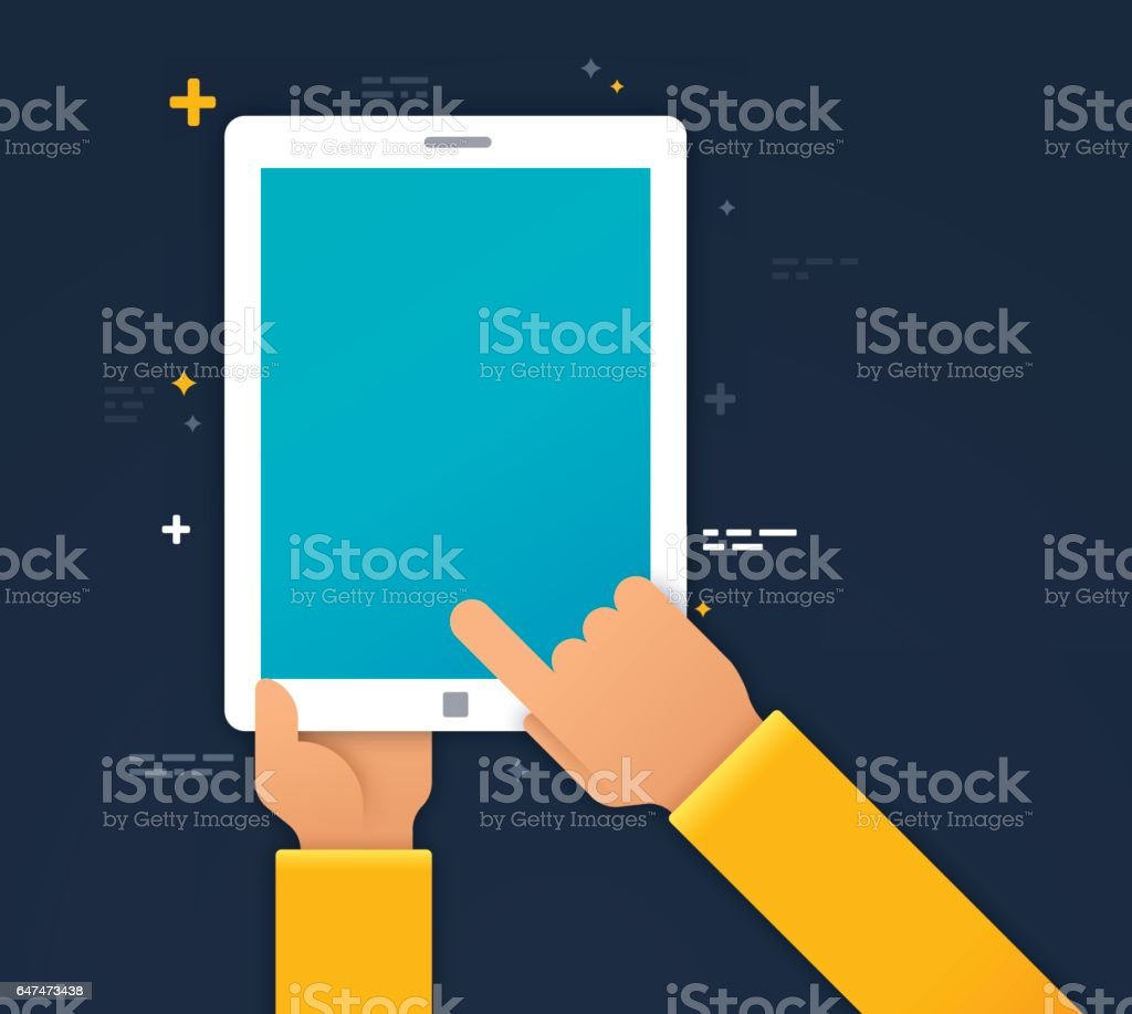Using a Mobile Device vector art illustration