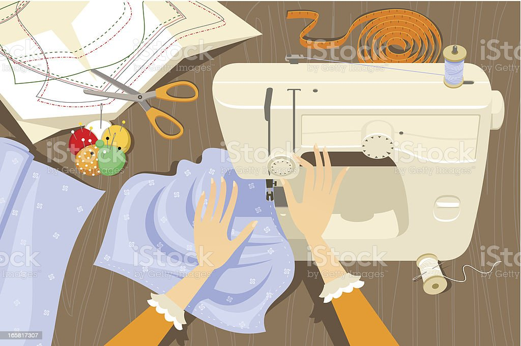 Using a sewing machine vector art illustration