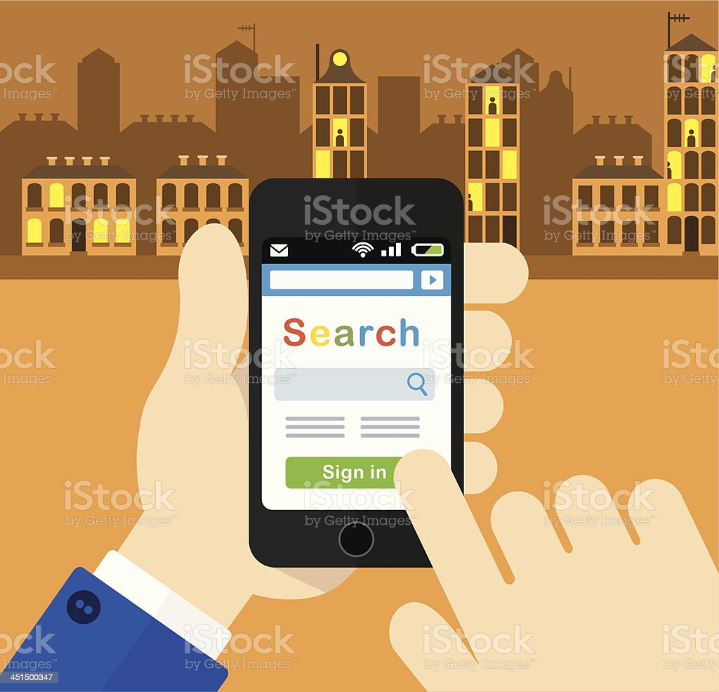 Using a Smartphone in the city vector art illustration