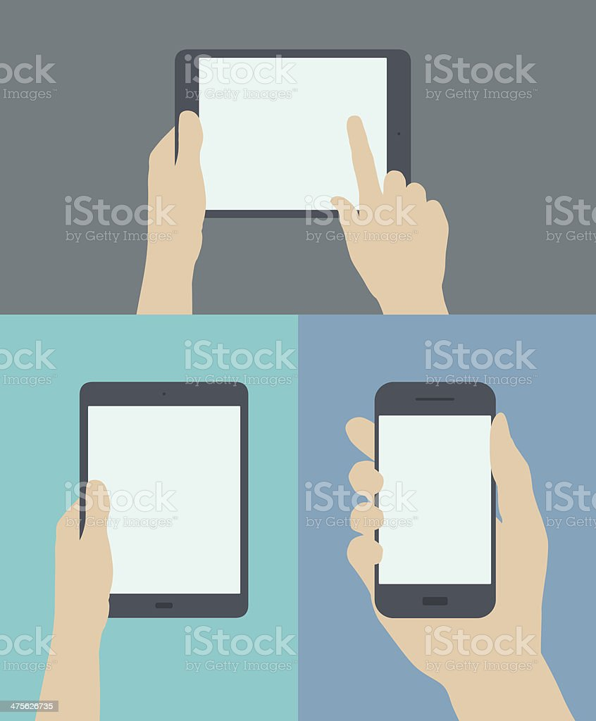 Using digital and mobile devices flat illustration vector art illustration