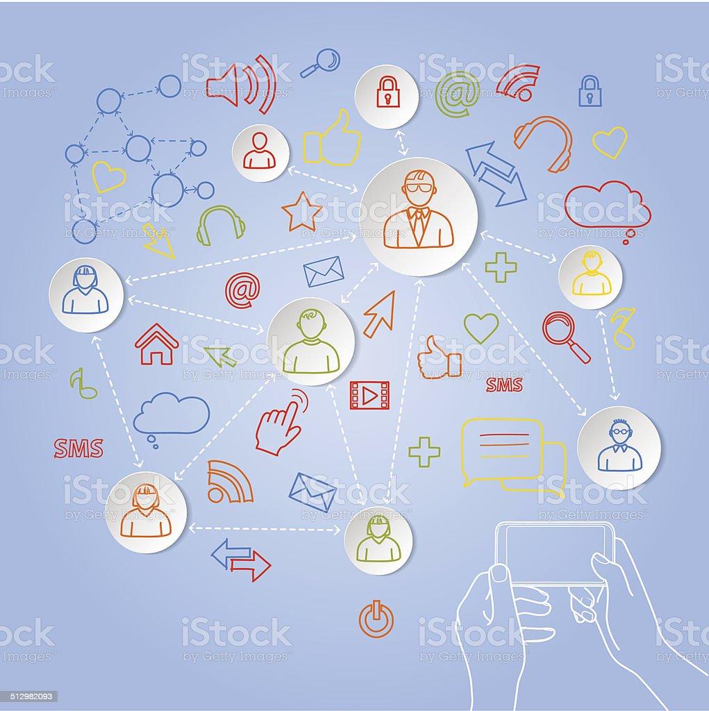 Usando telefone para rede social conceito de vetor vetor e ilustração royalty-free royalty-free