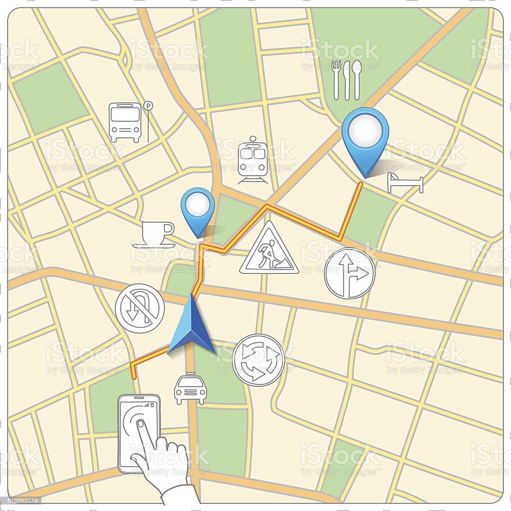 Usando telefone para rua mapa vetor de navegação vetor e ilustração royalty-free royalty-free
