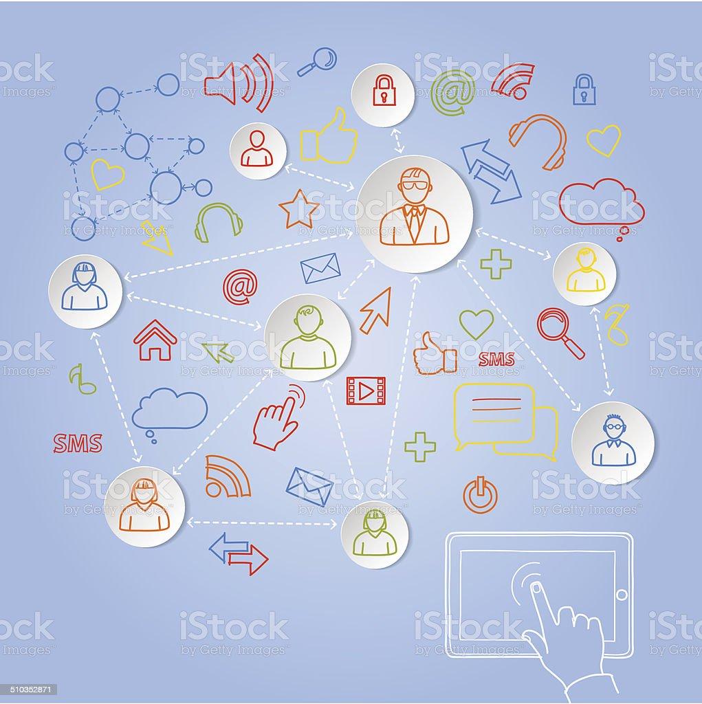 Usando tablet para rede social conceito de vetor vetor e ilustração royalty-free royalty-free