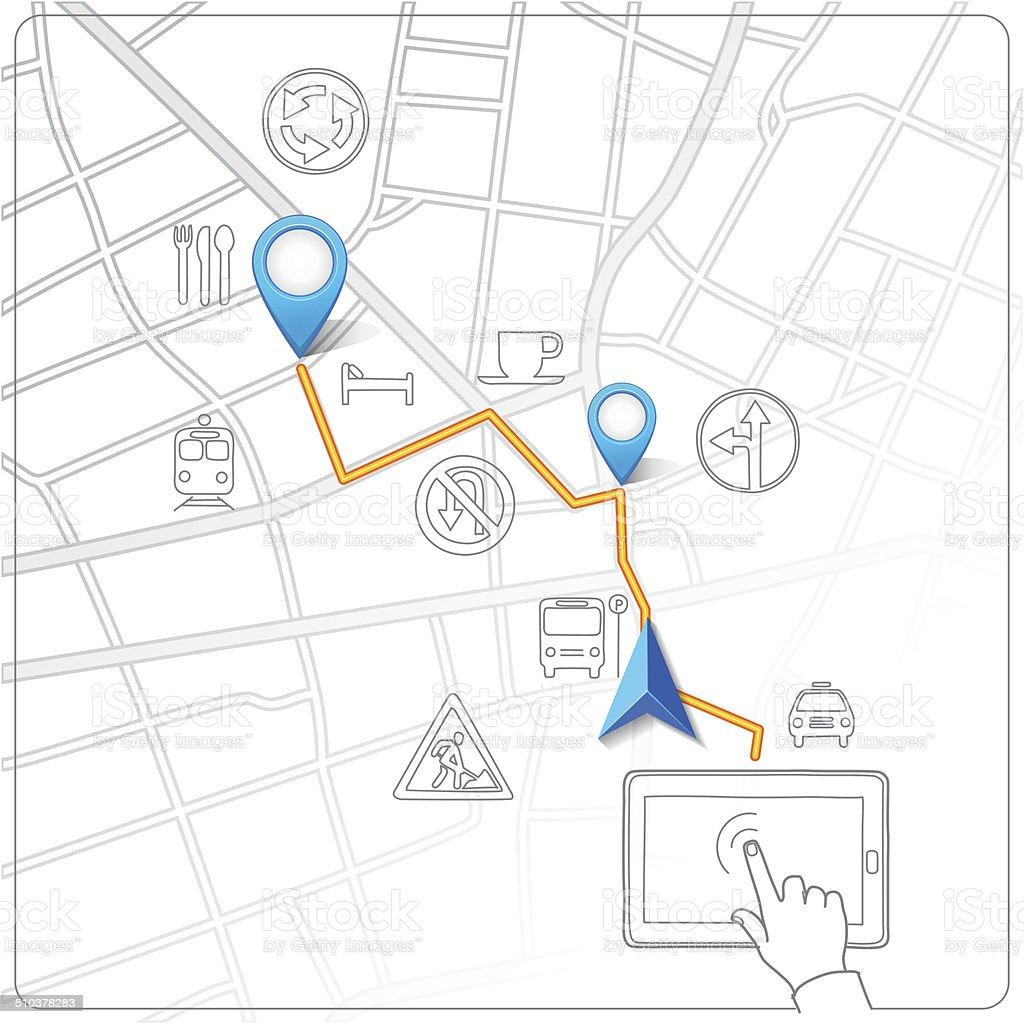 Usando tablet vetor de navegação Mapa de Rua vetor e ilustração royalty-free royalty-free
