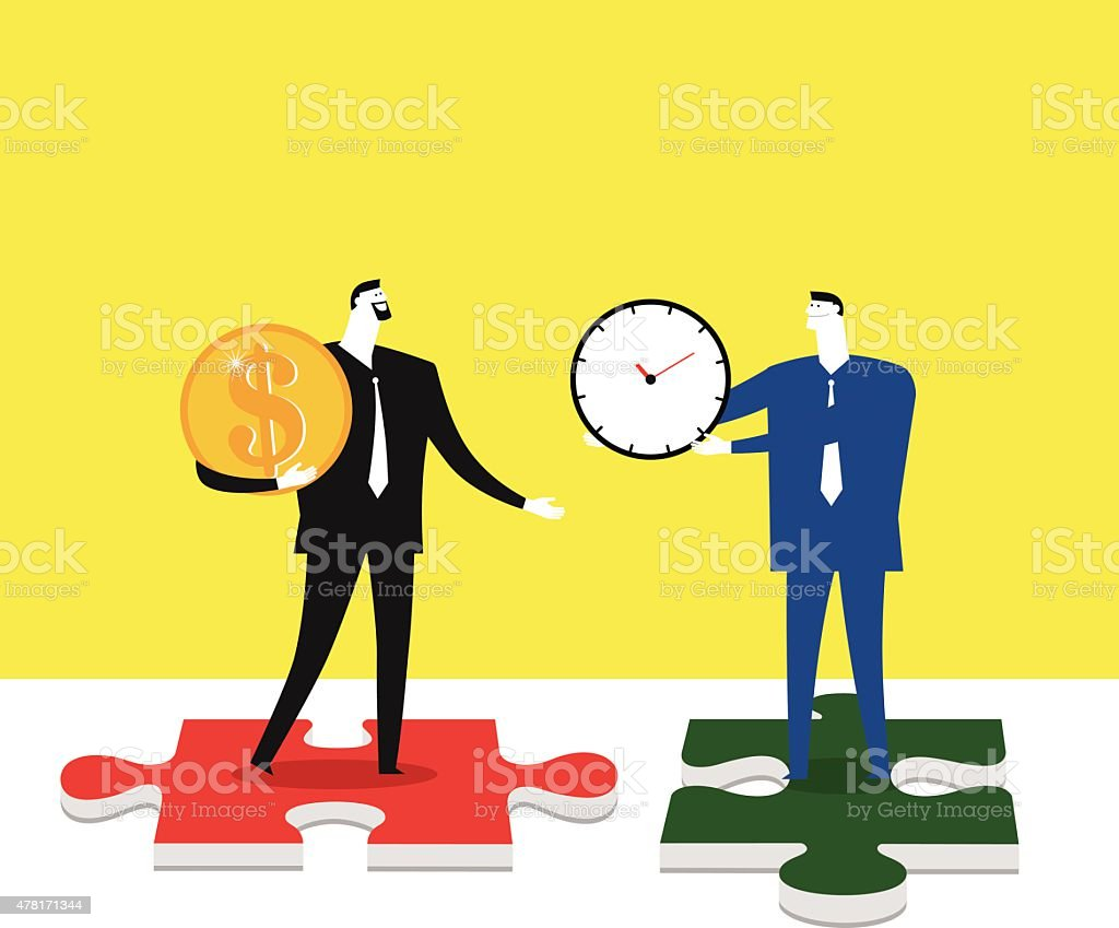 Using the money to buy time vector art illustration