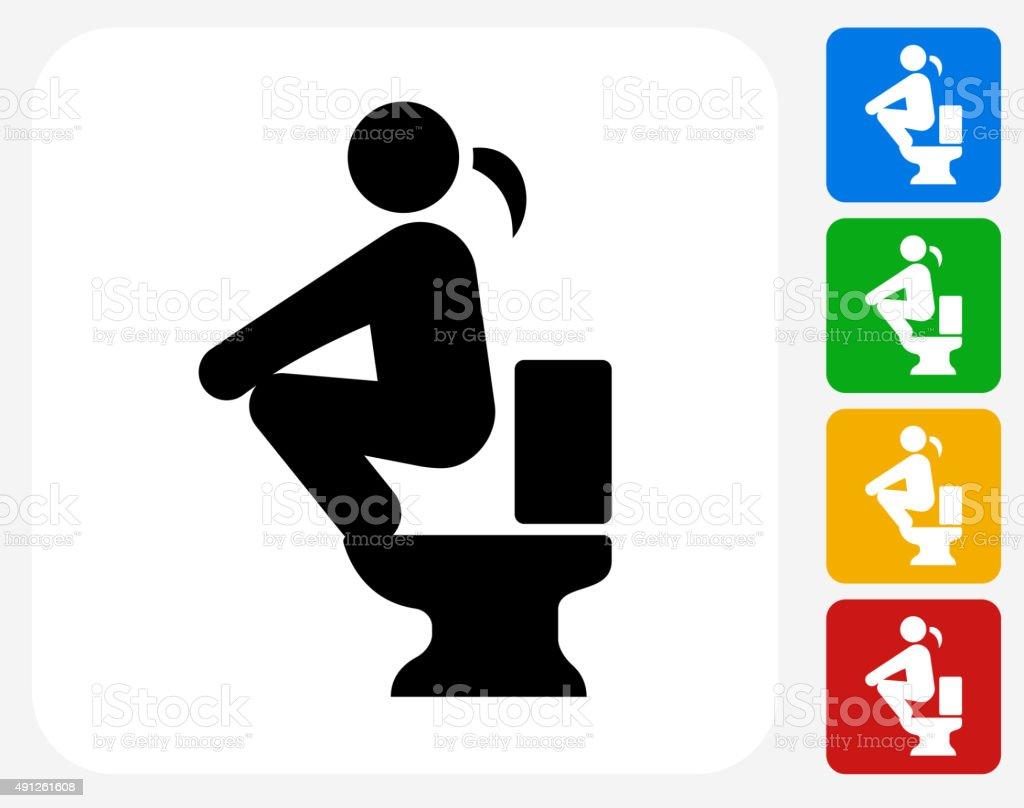 Using the Toilet Icon Flat Graphic Design vector art illustration
