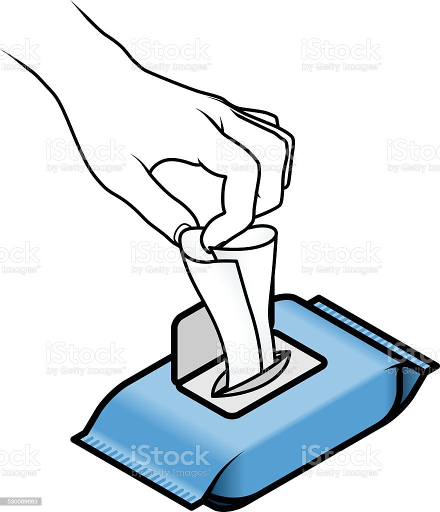 Using Wet Wipes vector art illustration