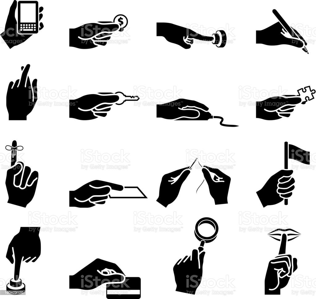 Using Your Hands black and white vector icon set vector art illustration