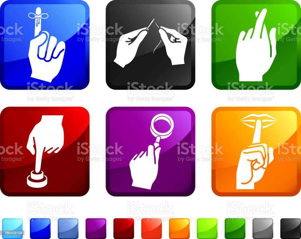 Using Your Hands royalty free vector icon set stickers vector art illustration