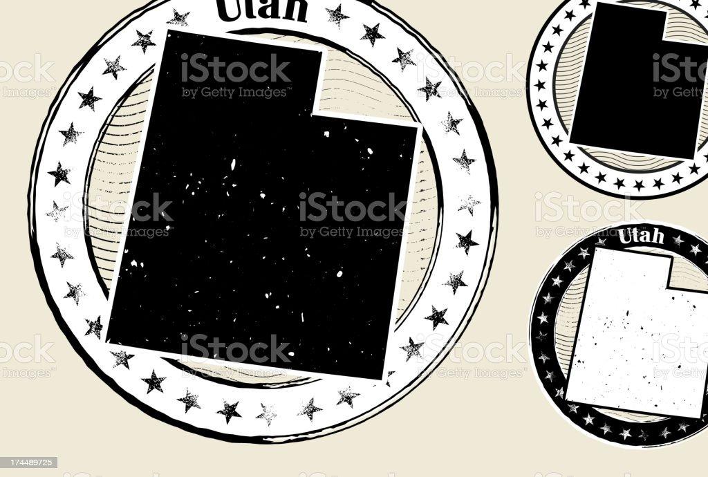 Utah Grunge Map Black & White Stamp Collection vector art illustration
