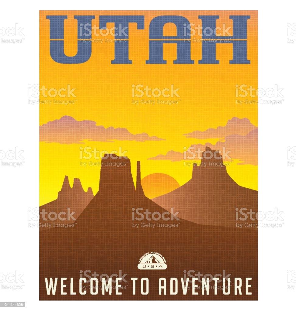 Utah travel poster or sticker. vector illustration of monument valley at sunset. vector art illustration