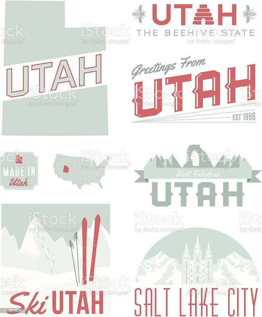 Utah Typography vector art illustration