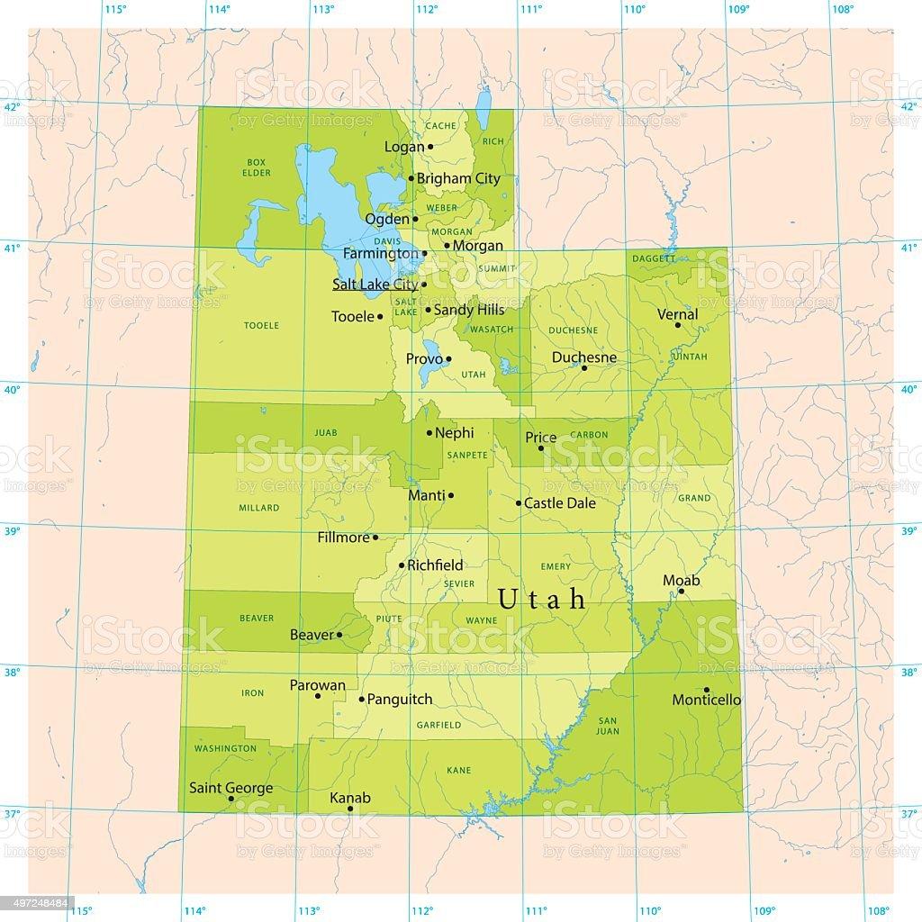 Utah Vector Map vector art illustration