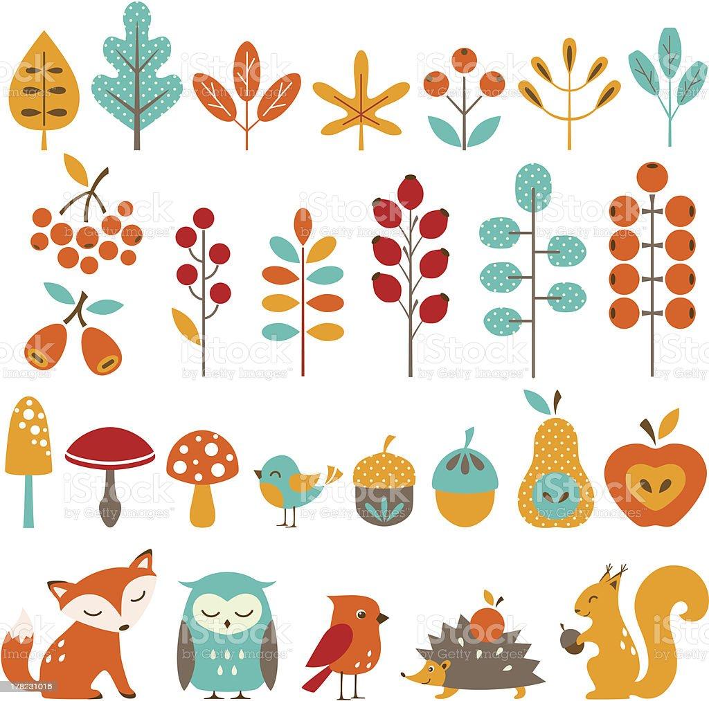 ?ute autumn design elements vector art illustration
