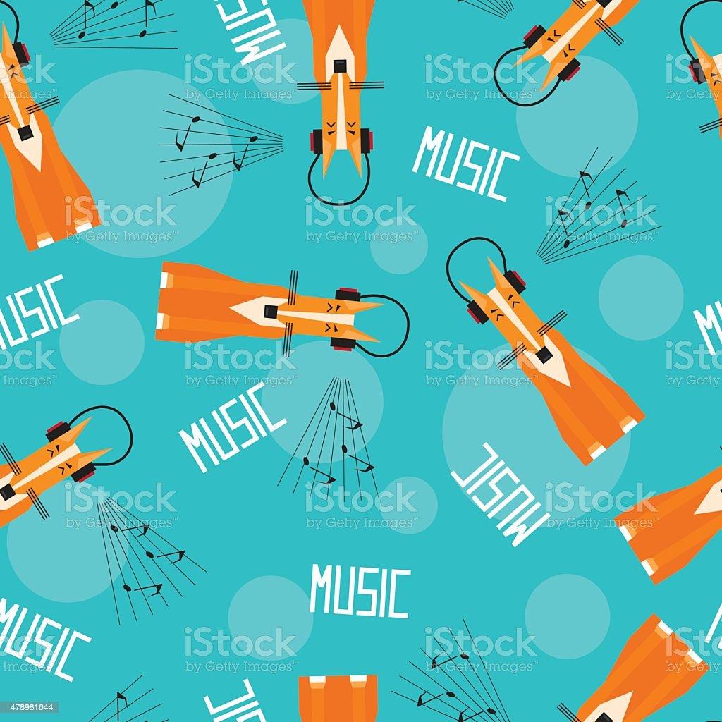 Сute cartoon fox enjoys music in headphones. Seamless patternl illustration vector art illustration