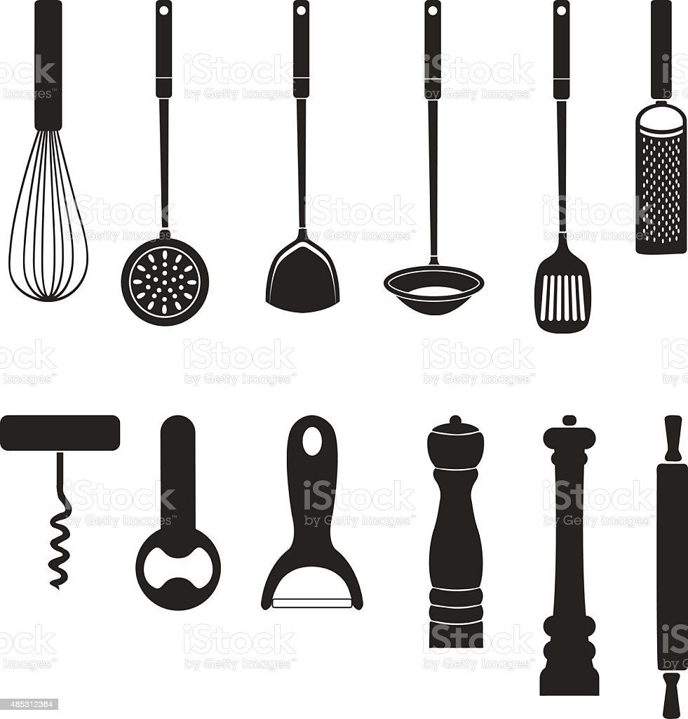utensil Kitchen tool silhouette collection vector art illustration