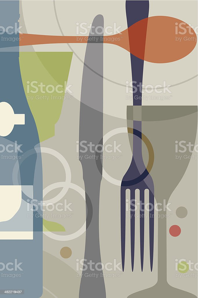 Utensils background design symbolizing fine dining royalty-free stock vector art
