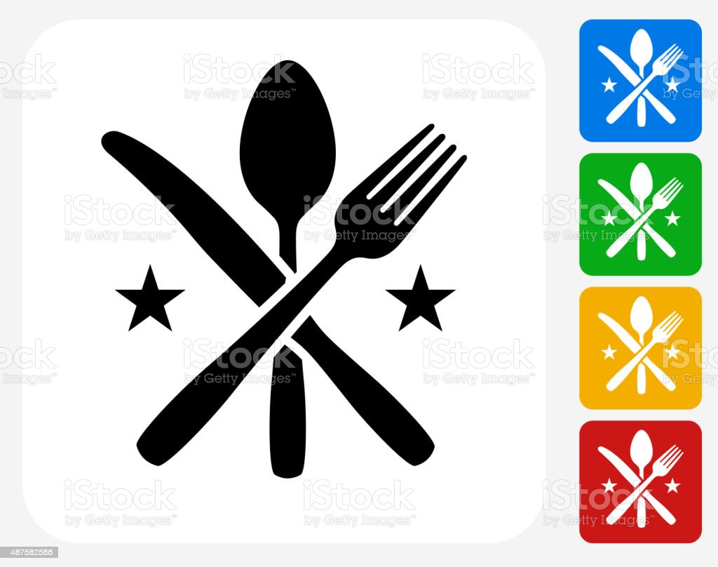 Utensils Icon Flat Graphic Design vector art illustration