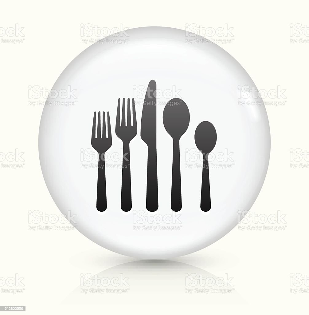Utensils icon on white round vector button vector art illustration