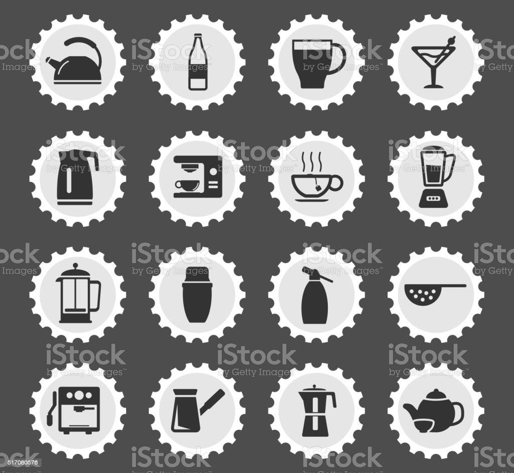 Utensils simply icons vector art illustration