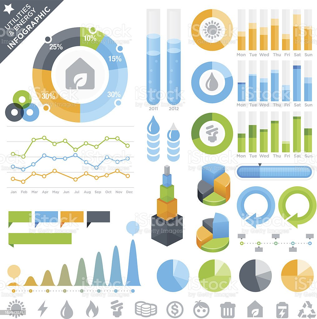 Utilities & Energy Infographic Elements and Icons royalty-free stock vector art