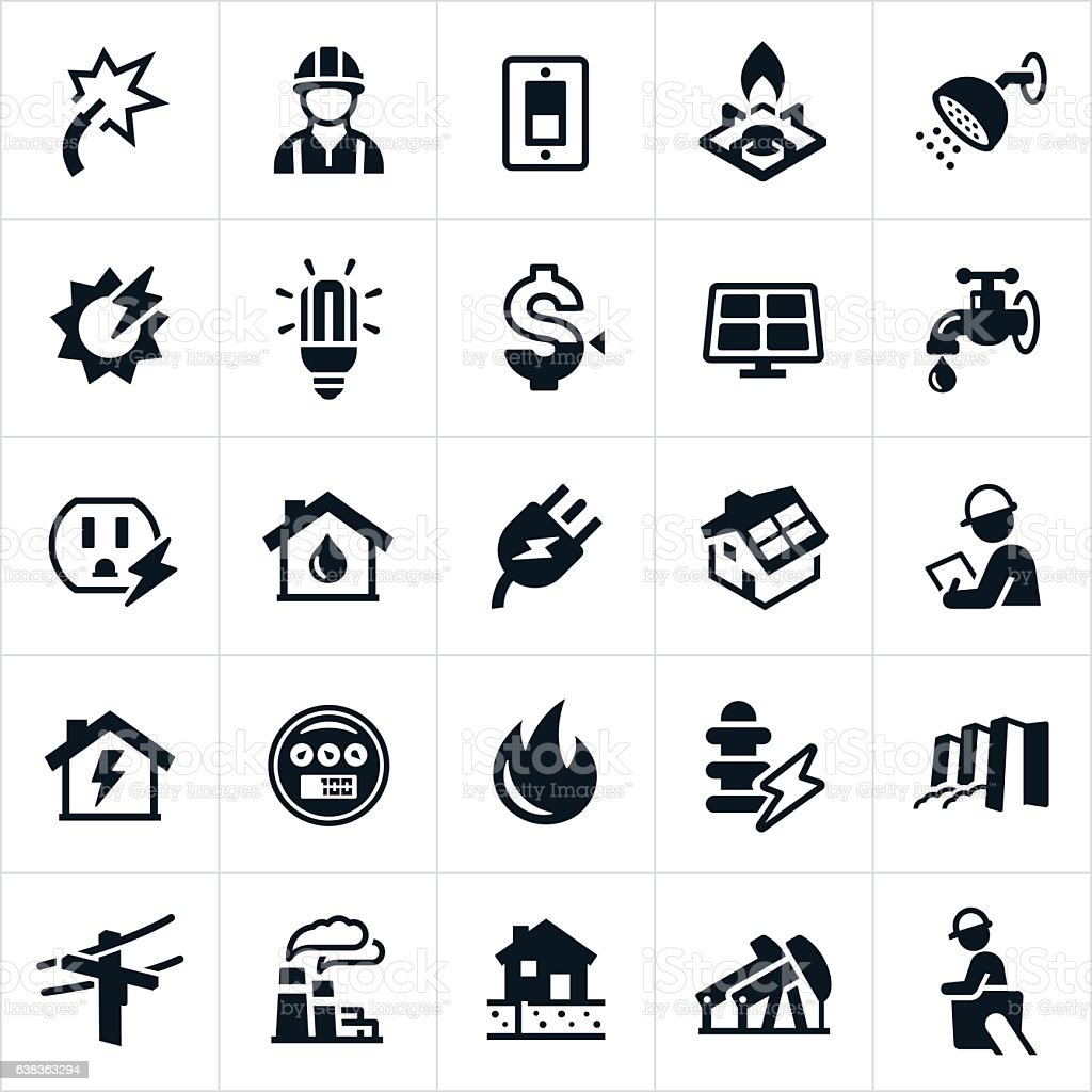 Utilities Icons vector art illustration