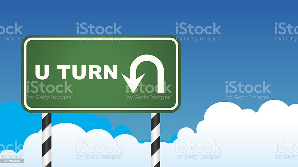 U-Turn Roadsign royalty-free stock vector art