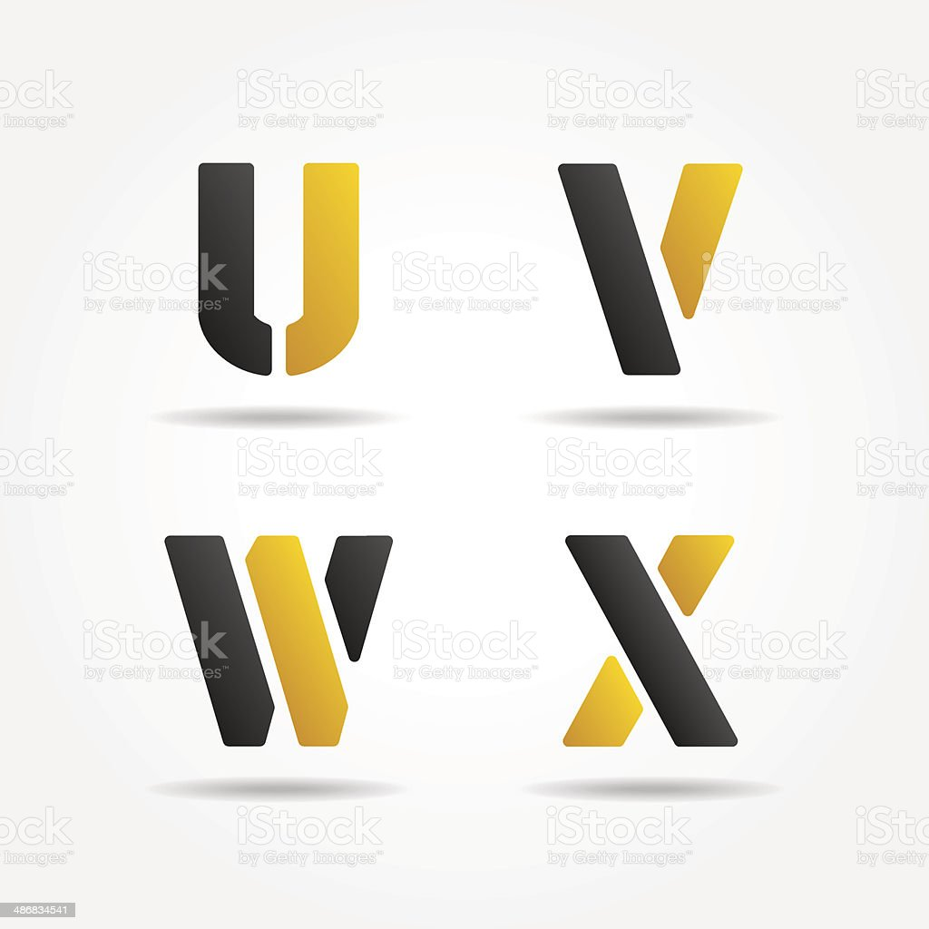 uvwx yellow stencil letters royalty-free stock vector art