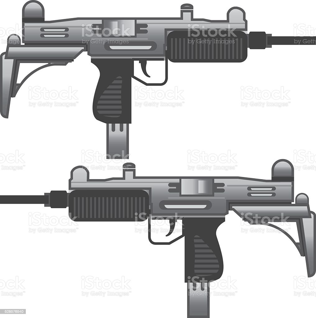 Uzi Machine gun vector eps vector art illustration