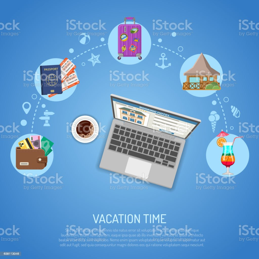 Vacation and Tourism Concept vector art illustration