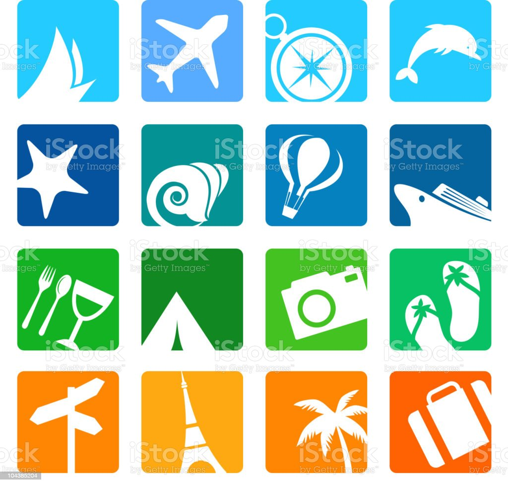 Vacation and tourism icons royalty-free stock vector art