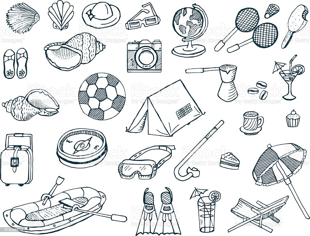 Vacation and Travel Doodles vector art illustration
