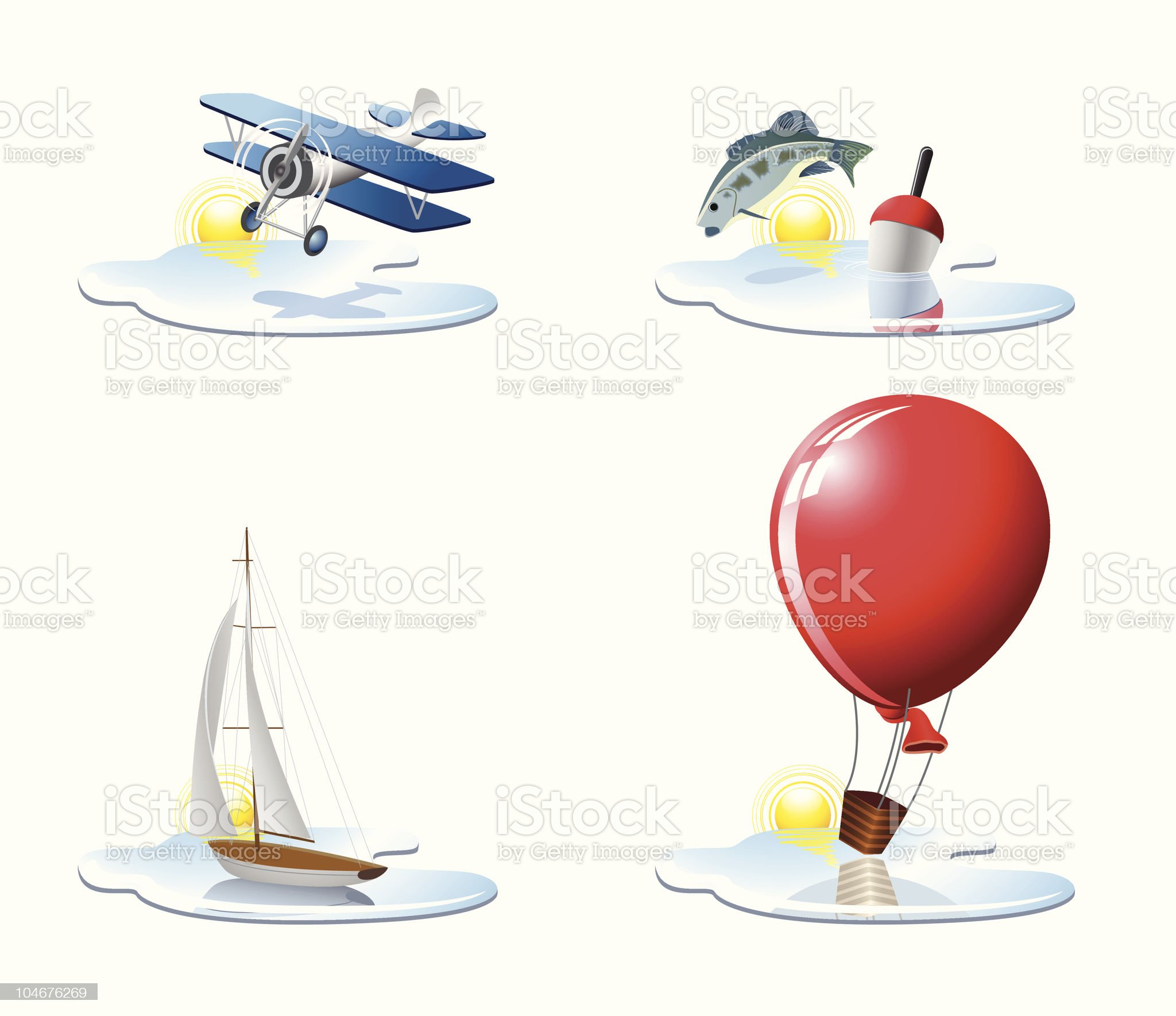 Vacation and travel icons royalty-free stock vector art