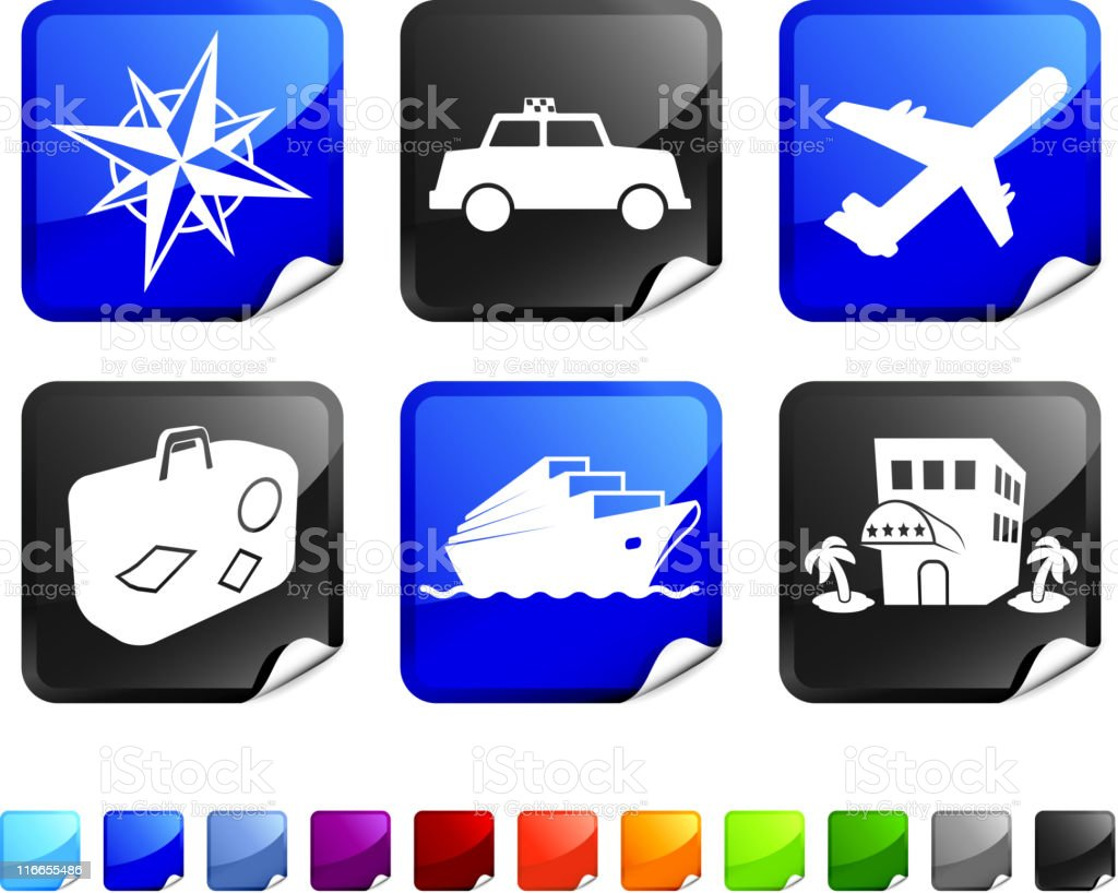 vacation and travel royalty free vector icon set royalty-free stock vector art