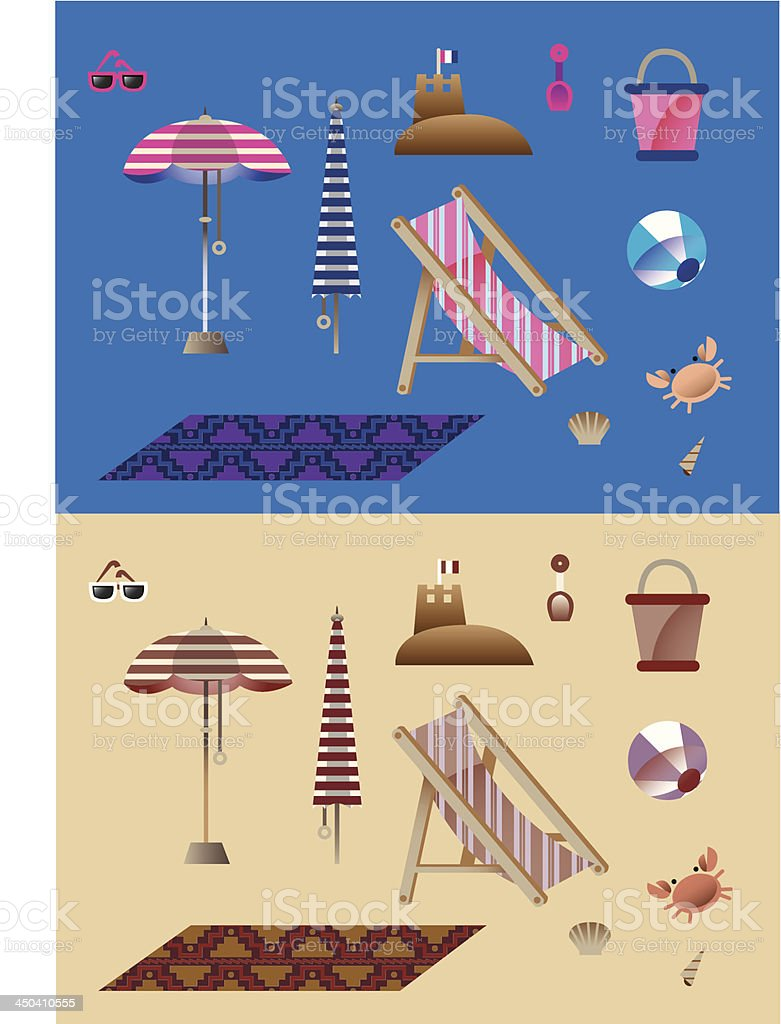 Vacation Beach Vector Vintage Summer Footage royalty-free stock vector art
