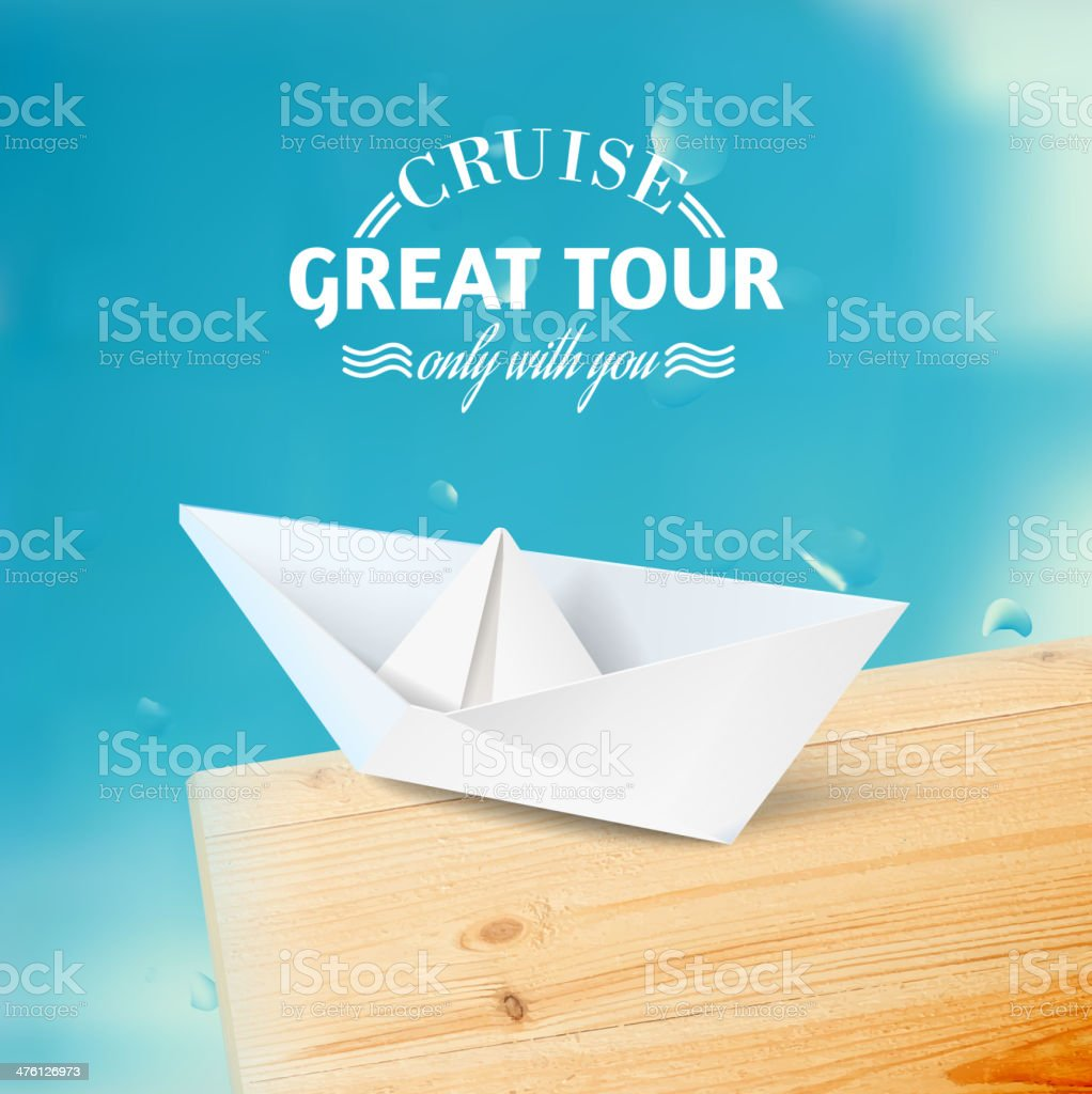 Vacation cruise illustration with ship and text lettering. royalty-free stock vector art