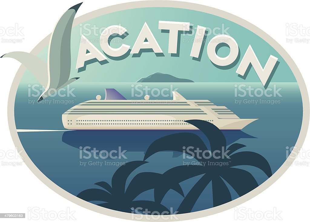Vacation emblem with cruise liner vector art illustration