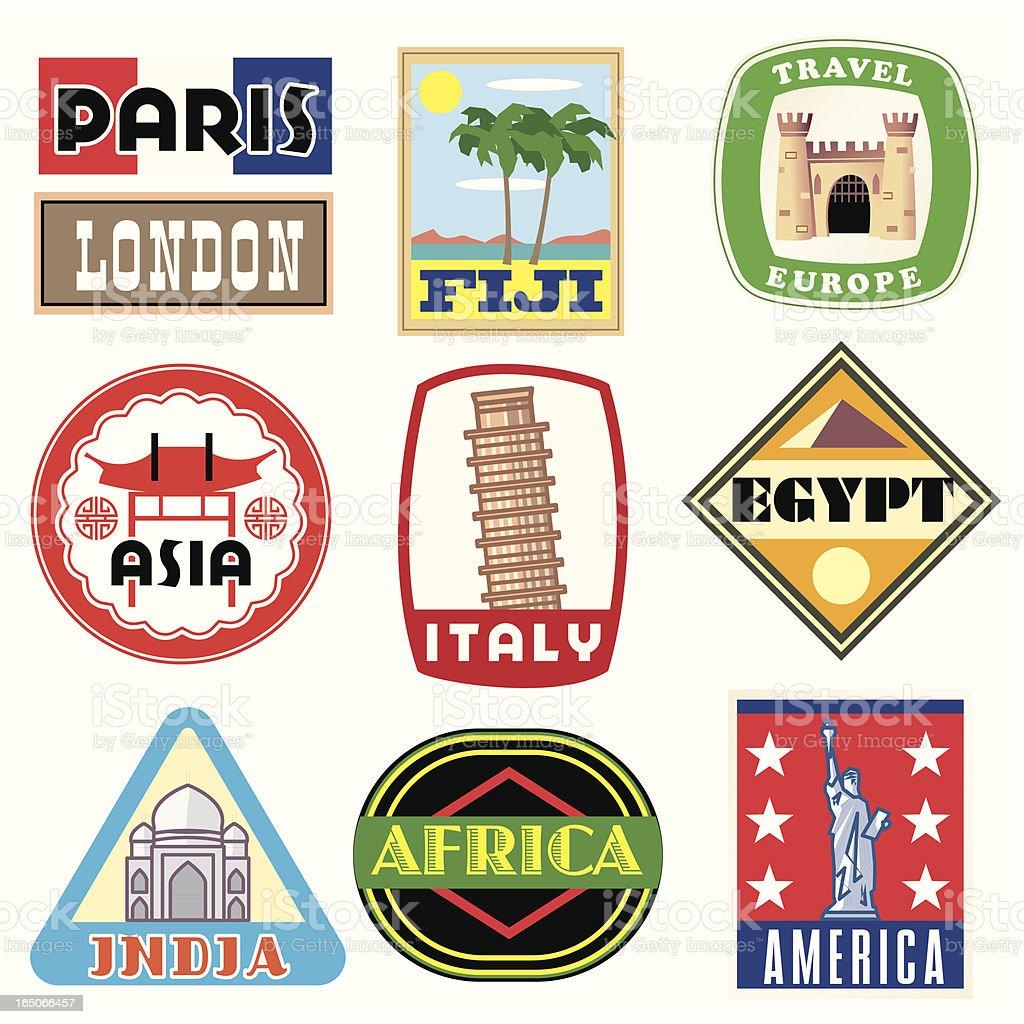 Vacation Icons vector art illustration