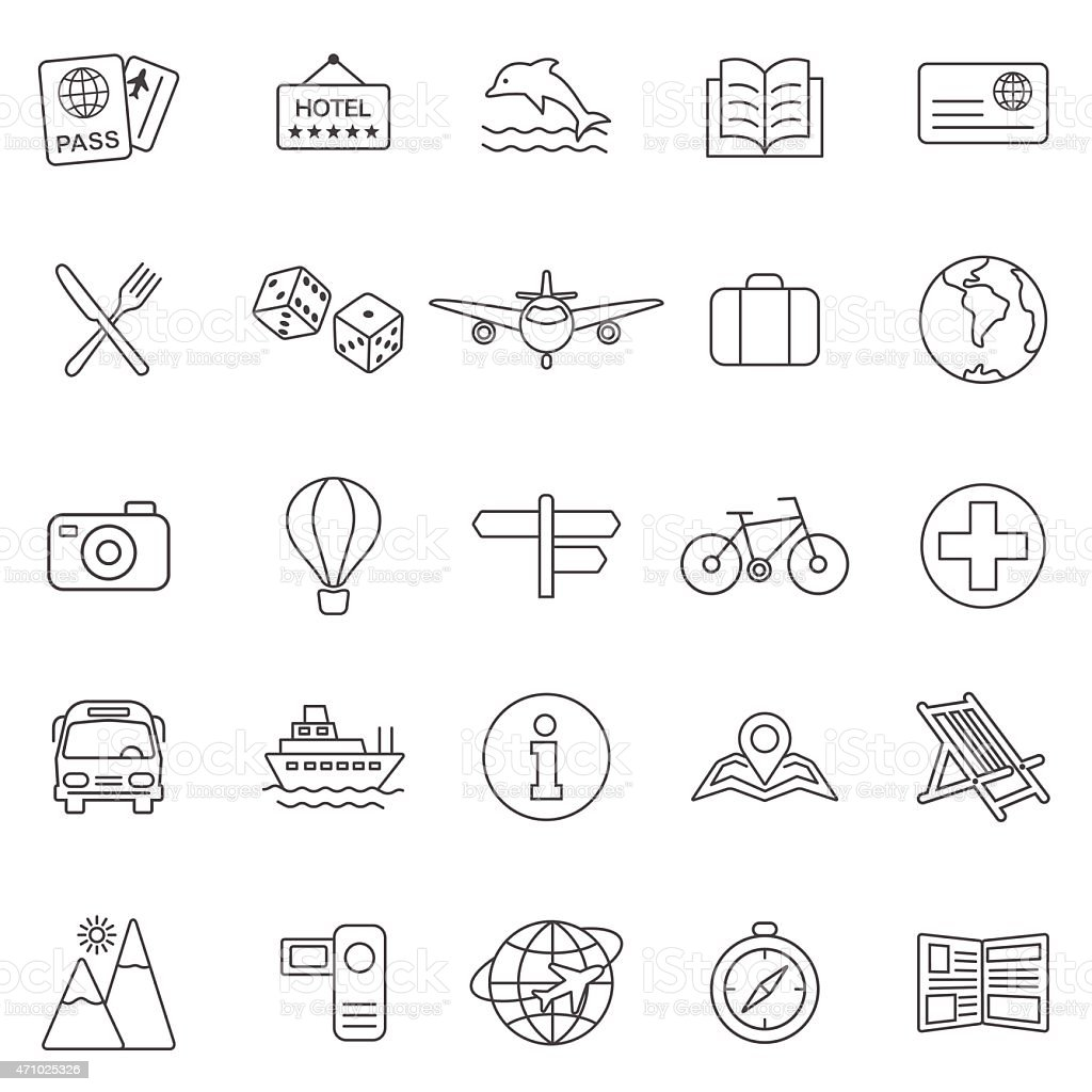 Vacation line icons set.Vector vector art illustration