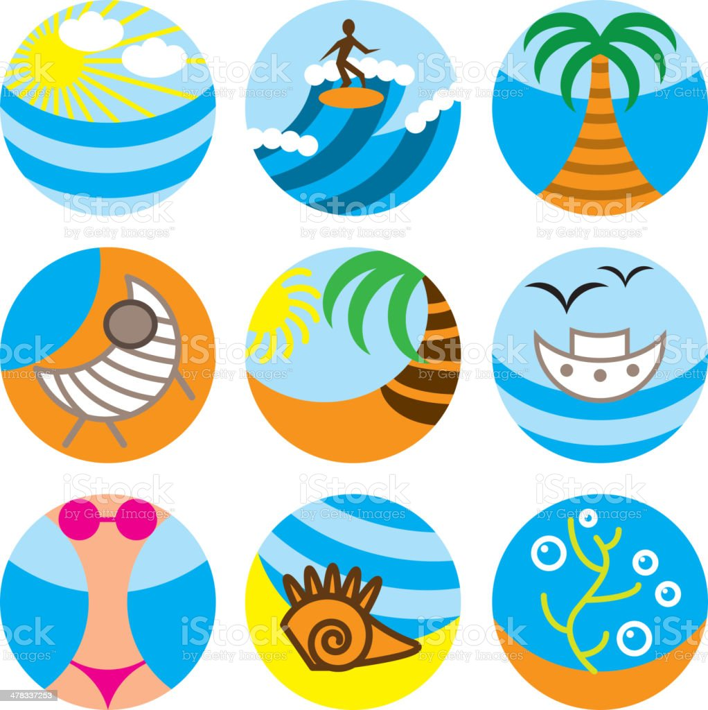 vacation on beach icons set royalty-free stock vector art